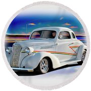 1937 Chevrolet Coupe 'accent Graphics' Round Beach Towel