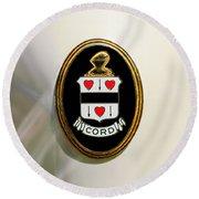 1937 Cord 812 Sc Phaeton Emblem -1203c4 Round Beach Towel