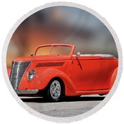 1937 Ford Cabriolet 'old School Vibe II Round Beach Towel
