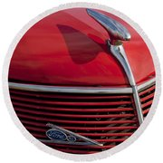1937 Ford Hood Ornament Round Beach Towel