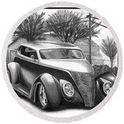 1937 Ford Sedan Round Beach Towel