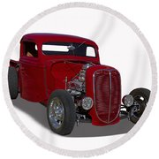 1937 Ford Truck Hot Rod Round Beach Towel