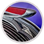 1937 Hudson Terraplane Sedan Hood Ornament 2 Round Beach Towel