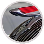 1937 Hudson Terraplane Sedan Hood Ornament Round Beach Towel