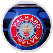 1937 Packard 12 Coupe Roadster Emblem Round Beach Towel