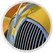 1937 Plymouth Hood Ornament 2 Round Beach Towel