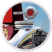 1938 American Lafrance Fire Truck Hood Ornament Round Beach Towel