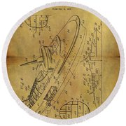 1938 Battleship Patent Round Beach Towel