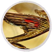 1938 Cadillac V-16 Sedan Hood Ornament 2 Round Beach Towel