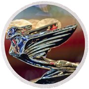 1938 Cadillac V-16 Sedan Hood Ornament Round Beach Towel