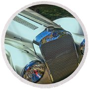 1938 Delage D8 - 120 Aerodynamic Coupe Front Grill Round Beach Towel