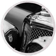 1938 Jaguar Ss100 3.5-liter Roadster Grille Round Beach Towel