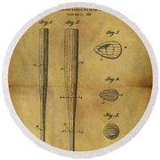 1939 Baseball Bat Patent Round Beach Towel