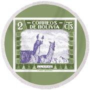1939 Bolivia Llamas Postage Stamp Round Beach Towel