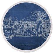 1939 Brough Superior Ss100 Blueprint Blue Background Round Beach Towel