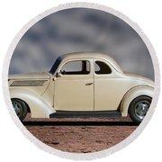 1939 Chevrolet White Coupe Round Beach Towel