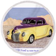1939 Ford Deluxe Street Rod Round Beach Towel