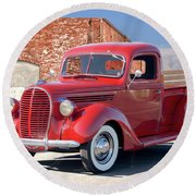 1939 Ford 'stake Bed' Pickup Truck I Round Beach Towel