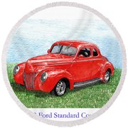 1939 Ford Standard Coupe Round Beach Towel