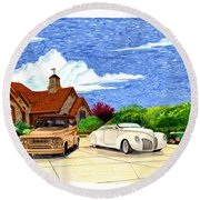 1939 Lincoln Zephyr  Family Home Round Beach Towel