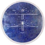 1940 Cymbal Patent Blue Round Beach Towel
