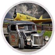 1940 Ford Rat Rod Pickup IIi Round Beach Towel