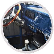 1940 Ford Truck Interior Round Beach Towel