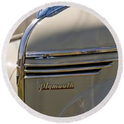 1940 Plymouth Hood Ornament 2 Round Beach Towel