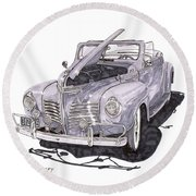 1940 Plymouth P 1 Convertible Round Beach Towel