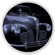 1940 Torpedo Coupe B/w Round Beach Towel
