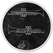 1940 Trumpet Patent Illustration Round Beach Towel