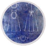 1940 Waitress Uniform Patent Blue Round Beach Towel