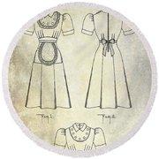 1940 Waitress Uniform Patent Round Beach Towel