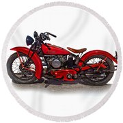 1940's Indian Motorcycle Round Beach Towel