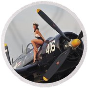 1940s Style Navy Pin-up Girl Sitting Round Beach Towel