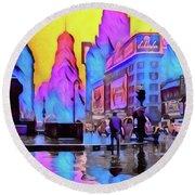 1940s Times Square Rain Round Beach Towel