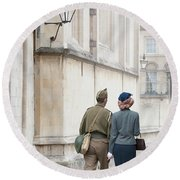 1940s Wartime Couple Round Beach Towel