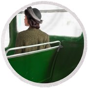 1940s Woman On A Bus Round Beach Towel
