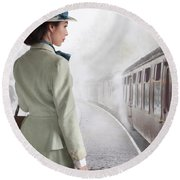1940's Woman On A Railway Platform With Steam Train  Round Beach Towel