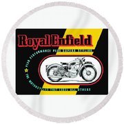 1941 Royal Enfield Motorcycle Ad Round Beach Towel