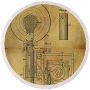 1943 Camera Flash Patent Round Beach Towel
