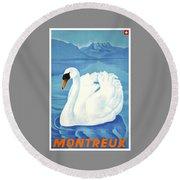 1943 Montreaux Switzerland Travel Poster Round Beach Towel