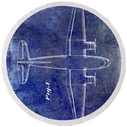 1945 Transport Airplane Patent Blue Round Beach Towel