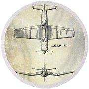 1946 Airplane Patent Round Beach Towel