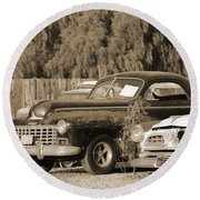 1946 Dodge In Sepia Round Beach Towel