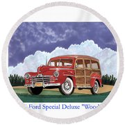 1946 Ford Woody Round Beach Towel