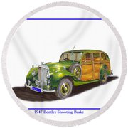 1947 Bentley Shooting Brake Round Beach Towel
