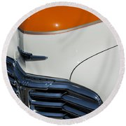 1947 Chevrolet Deluxe Front End Round Beach Towel