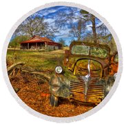 1947 Dodge Dump Truck Country Scene Art Round Beach Towel