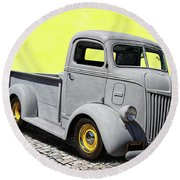1947 Ford Cab Over Engine Truck Round Beach Towel